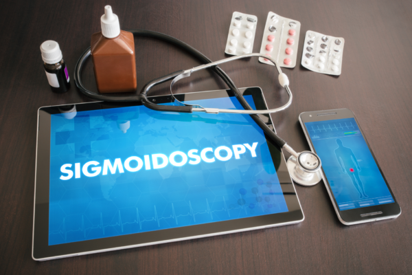 Sigmoidoscopy (gastrointestinal disease related) diagnosis medical concept on tablet screen with stethoscope.